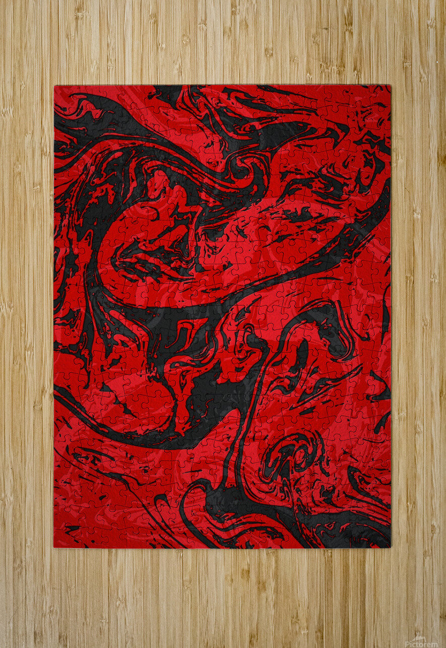 Black & Red Marble II  HD Metal print with Floating Frame on Back