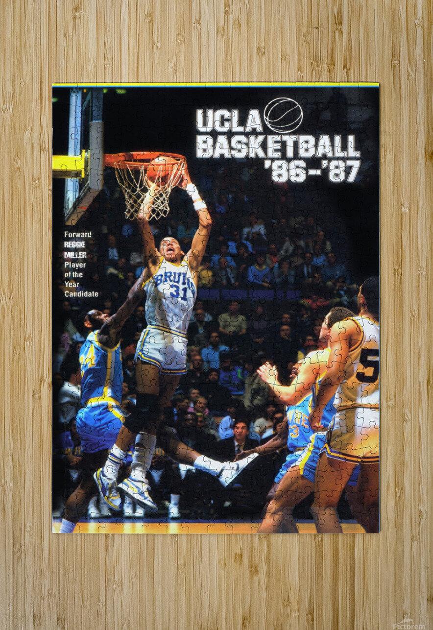 1986 UCLA Bruins Basketball Reggie Miller Poster  HD Metal print with Floating Frame on Back