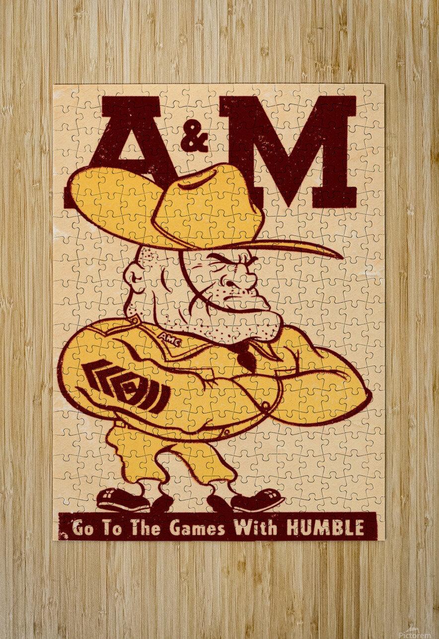 Vintage Texas A&M Ol Sarge Art  HD Metal print with Floating Frame on Back