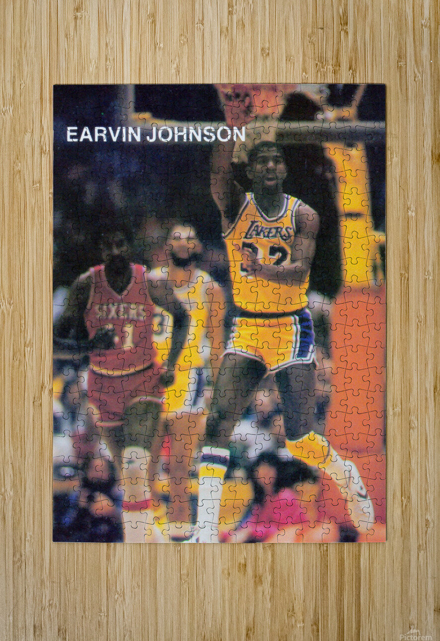 1983 Magic Johnson LA Lakers Retro Poster  HD Metal print with Floating Frame on Back