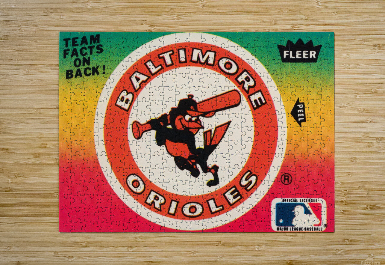 1983 fleer baseball stickers baltimore orioles wood print  HD Metal print with Floating Frame on Back