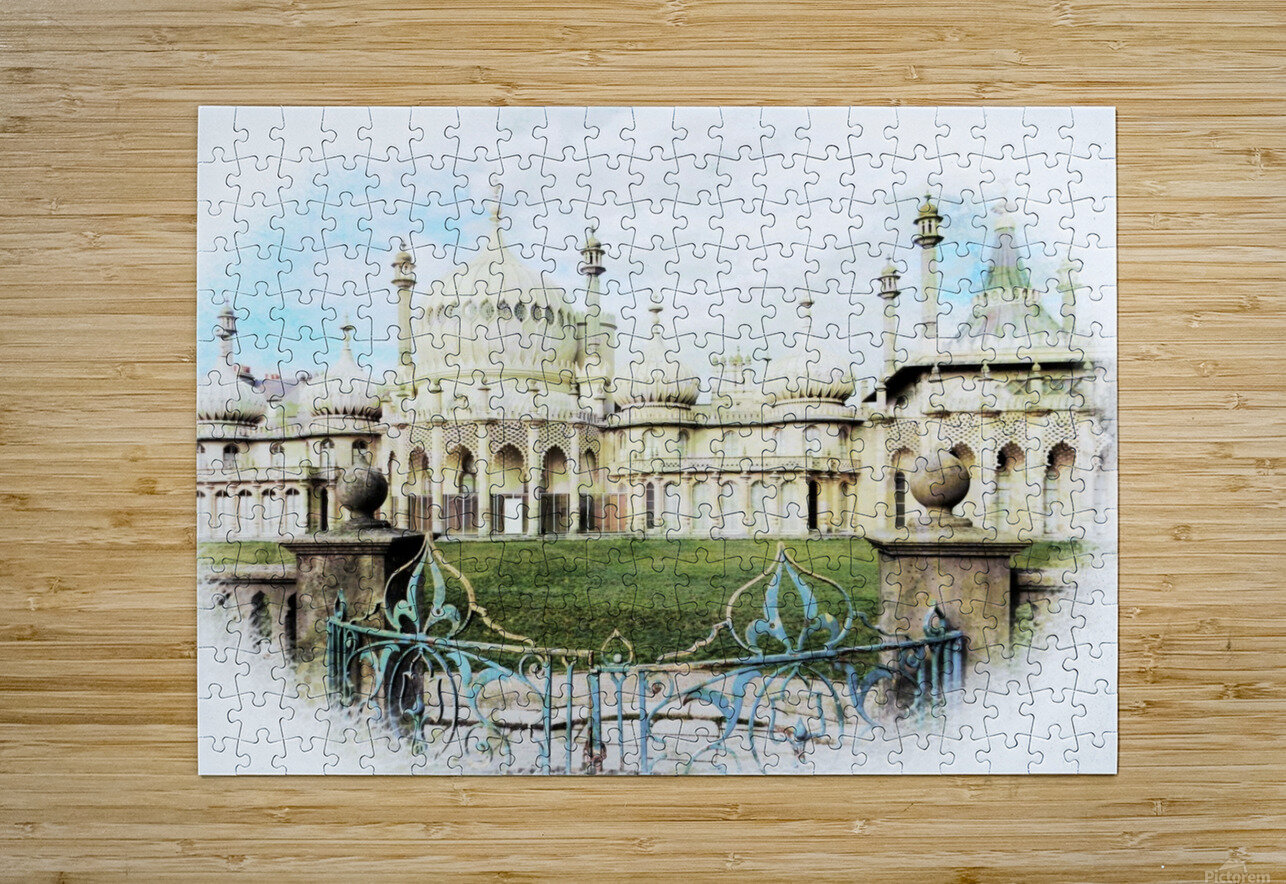 Brighton Pavilion Street View  HD Metal print with Floating Frame on Back