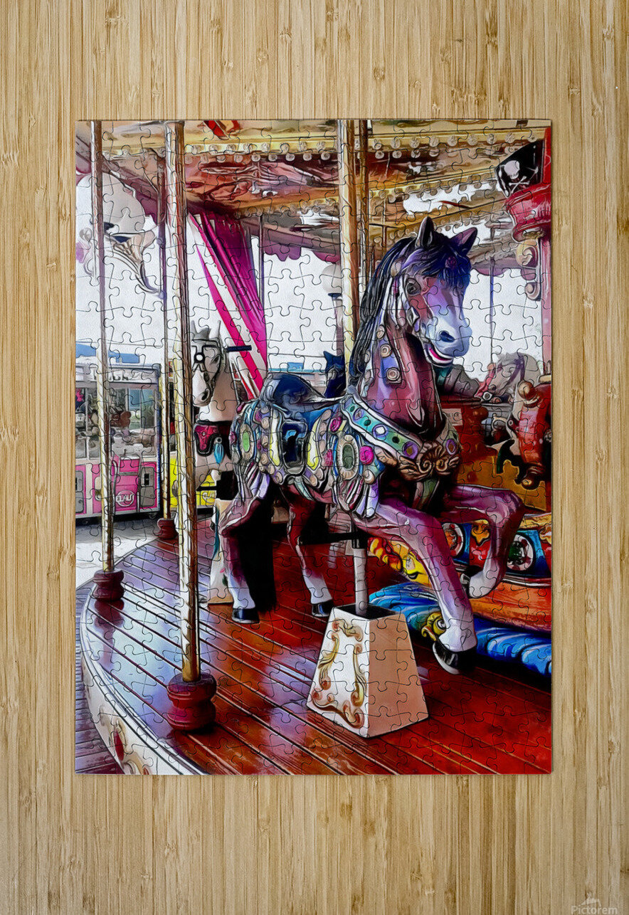 Merry Go Round Horses  HD Metal print with Floating Frame on Back