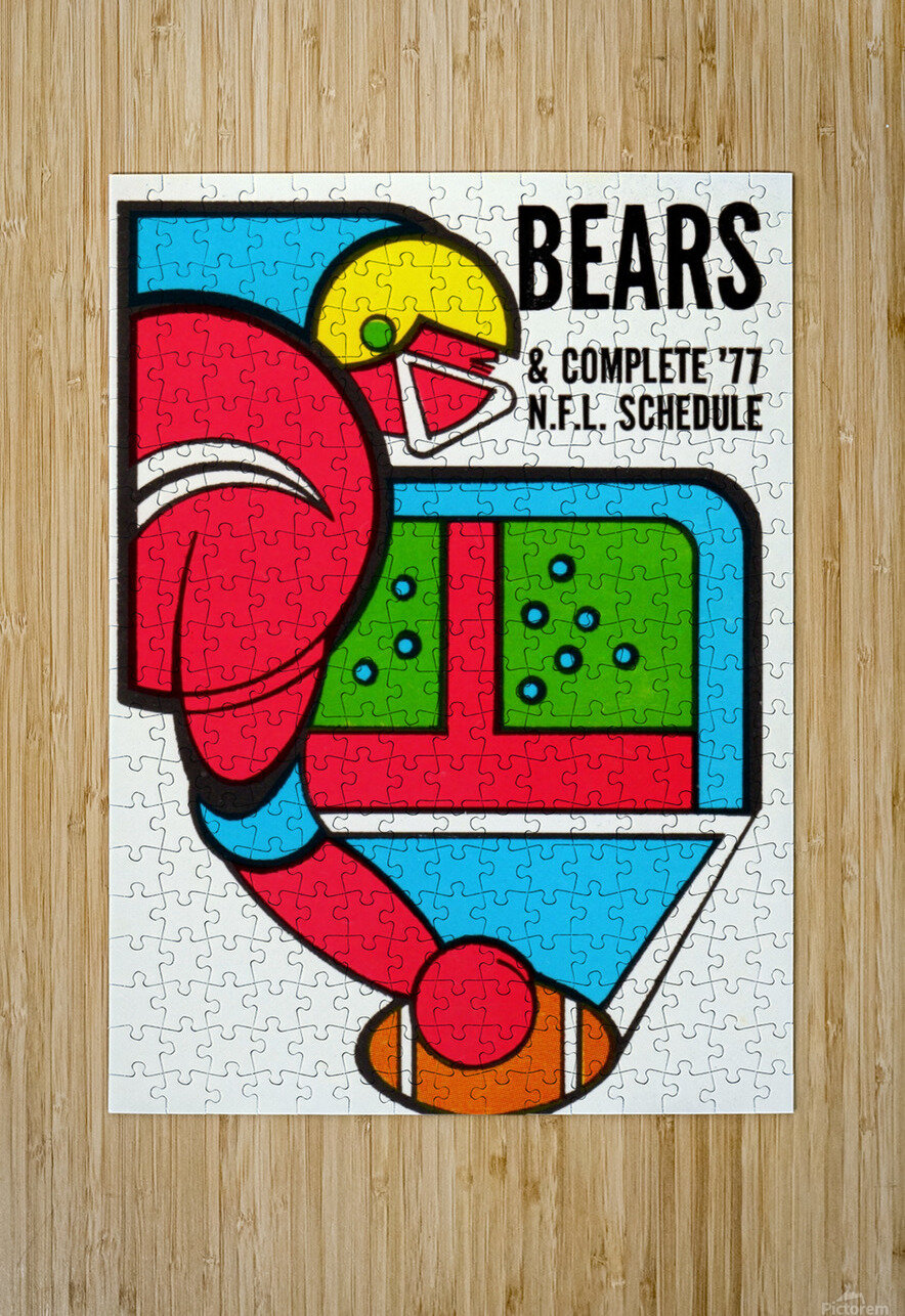 1977 Chicago Bears Schedule  HD Metal print with Floating Frame on Back