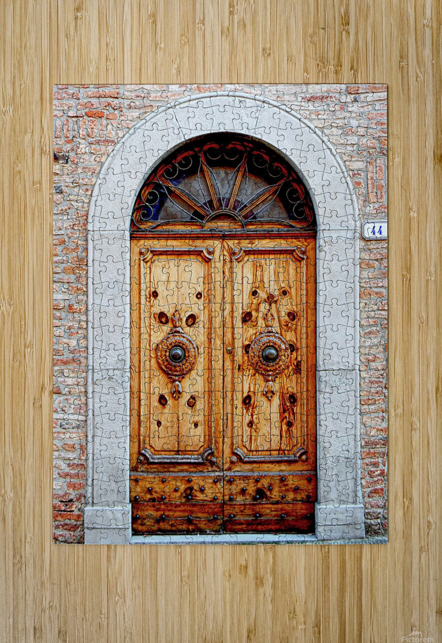 Ornate Wooden Door Citta della Pieve 1  HD Metal print with Floating Frame on Back