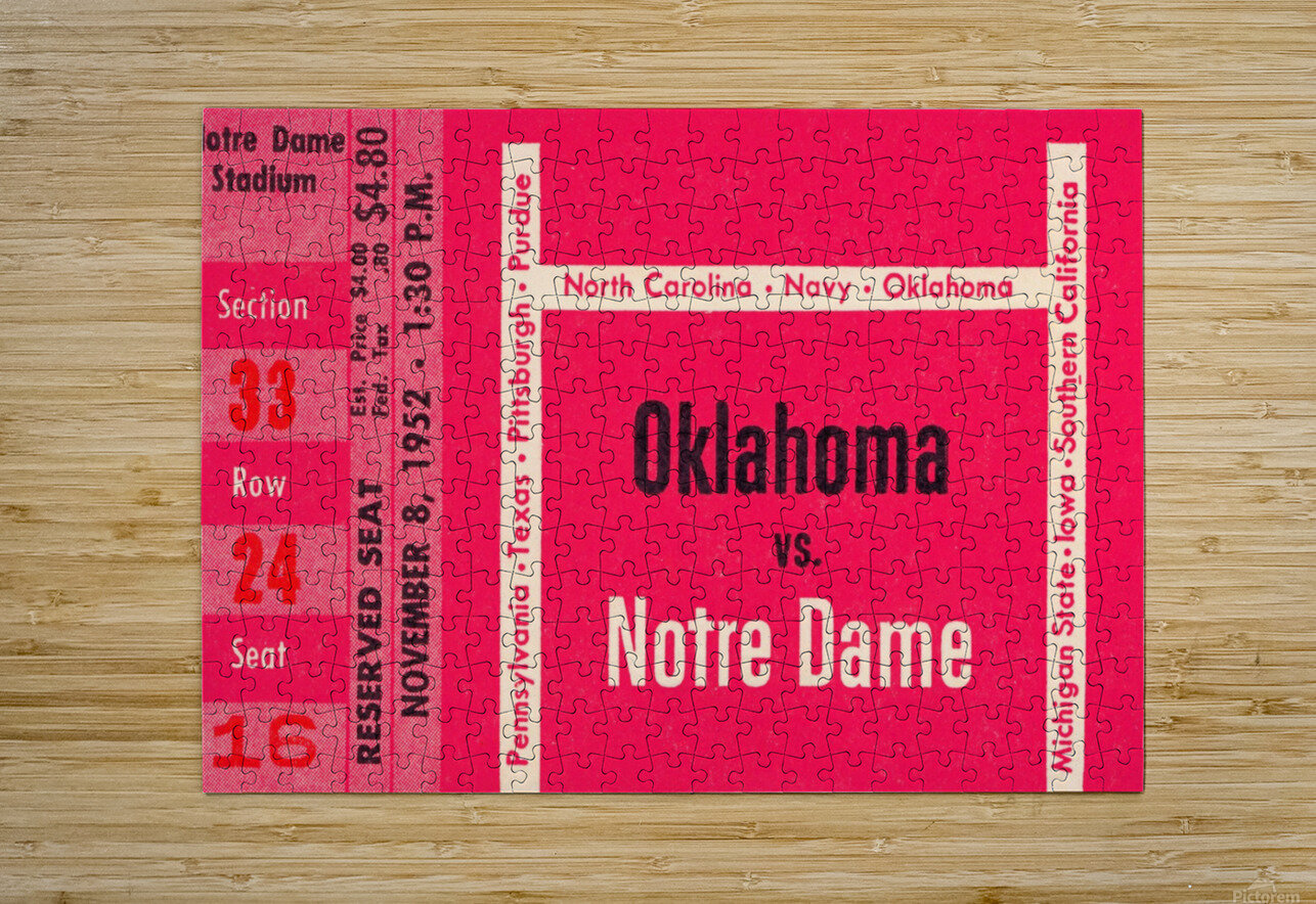 1952 Oklahoma vs. Notre Dame 1st National TV Game  HD Metal print with Floating Frame on Back