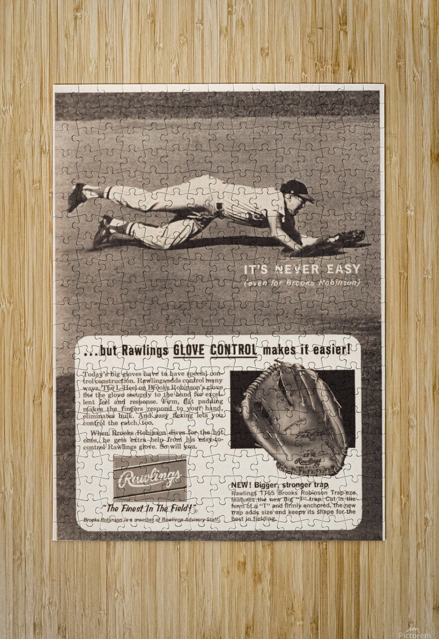 1963 brooks robinson rawlings baseball glove ad  HD Metal print with Floating Frame on Back