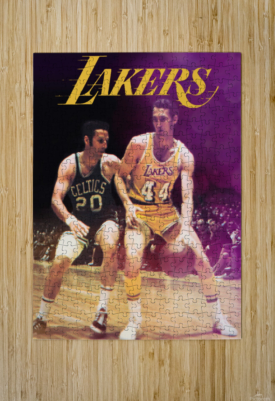 1969 Los Angeles Lakers Jerry West Art  HD Metal print with Floating Frame on Back