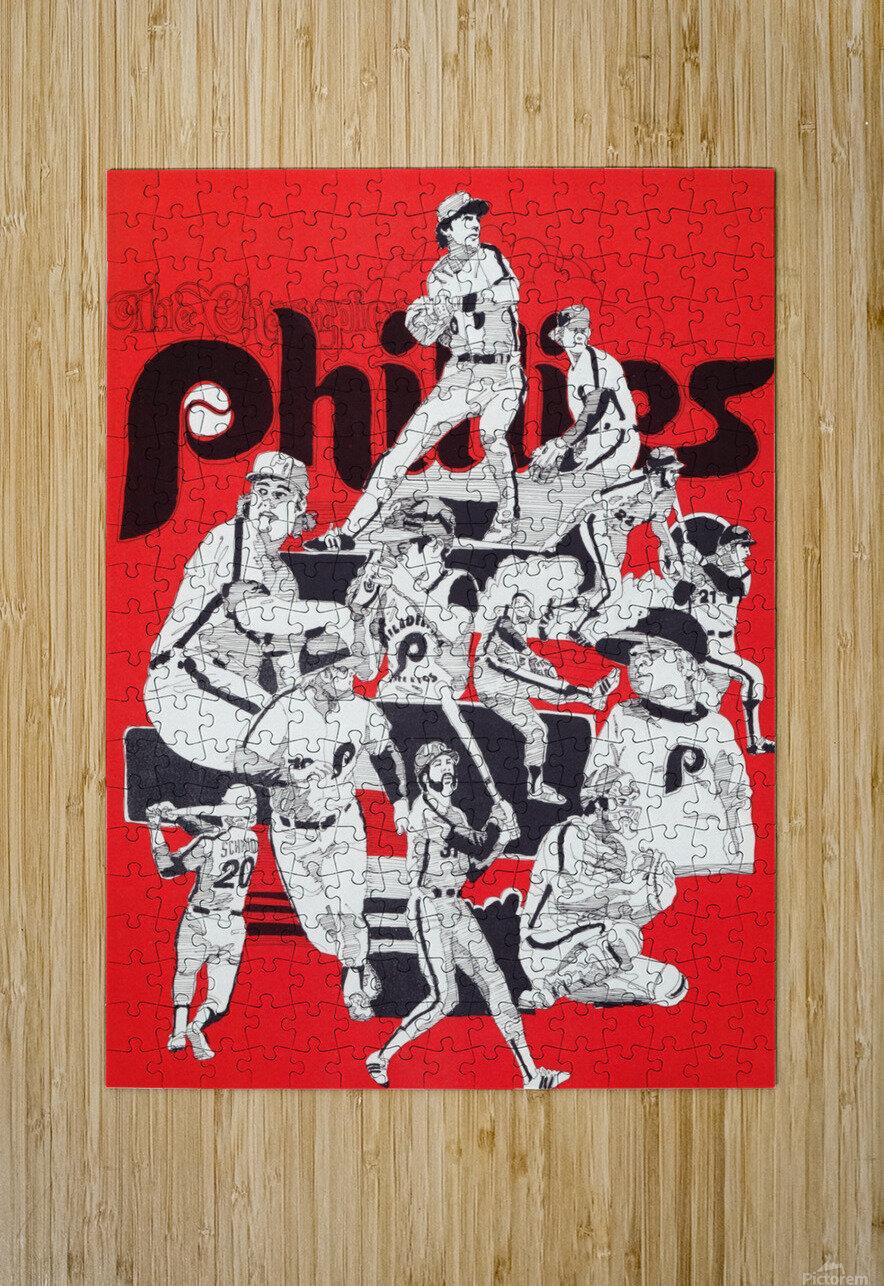 1977 philadelphia phillies champions retro baseball poster  HD Metal print with Floating Frame on Back