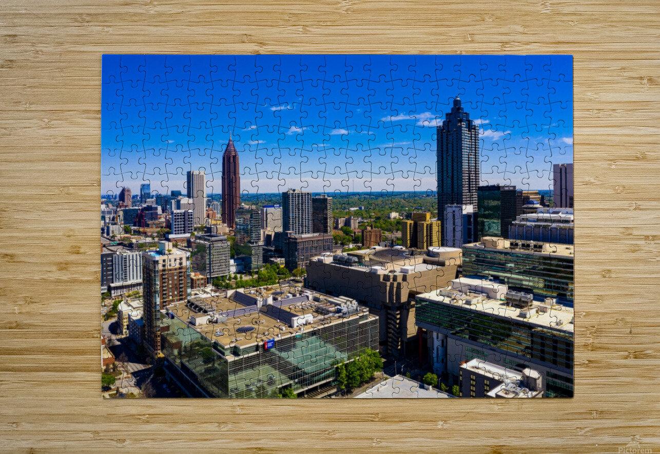 Downtown Atlanta Aerial View   Atlanta GA 0584  HD Metal print with Floating Frame on Back