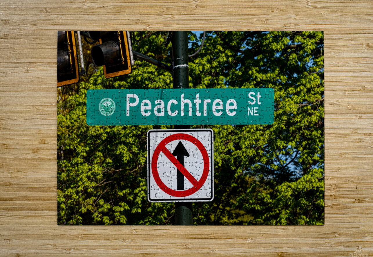 Peachtree St Road Sign   Atlanta GA 7162  HD Metal print with Floating Frame on Back