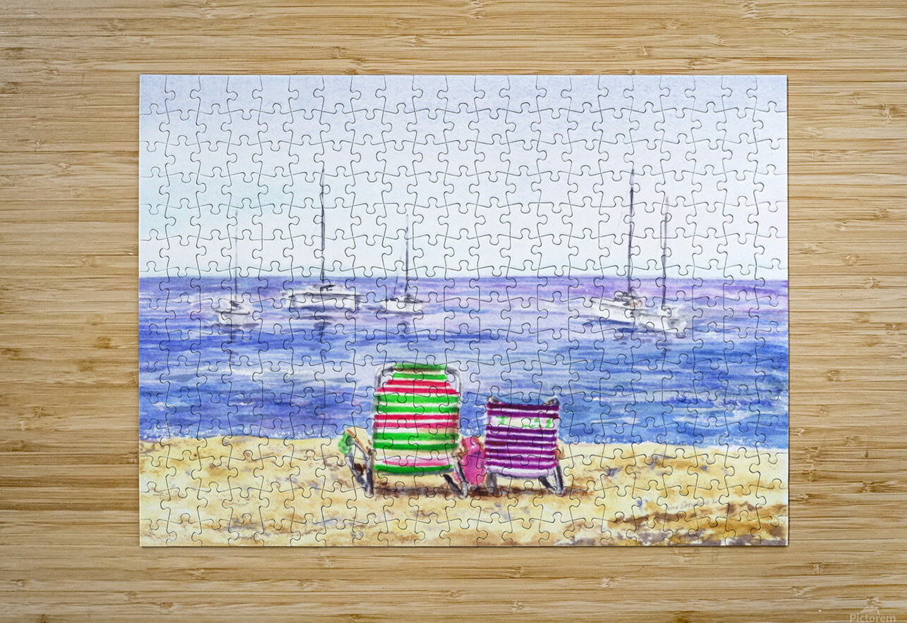 Two Chairs On The Beach  HD Metal print with Floating Frame on Back
