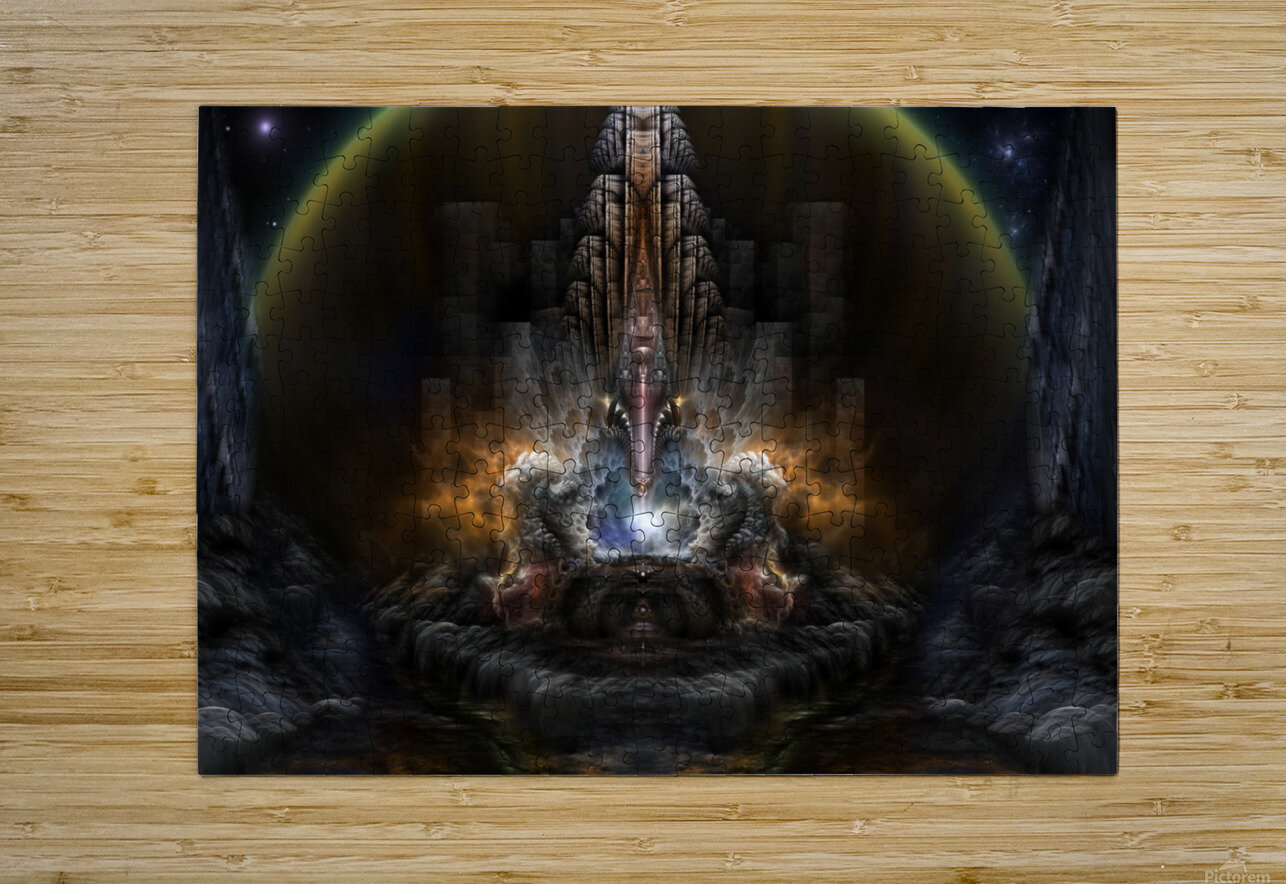 Path Of Shadows Fractal Fantasy Art  HD Metal print with Floating Frame on Back