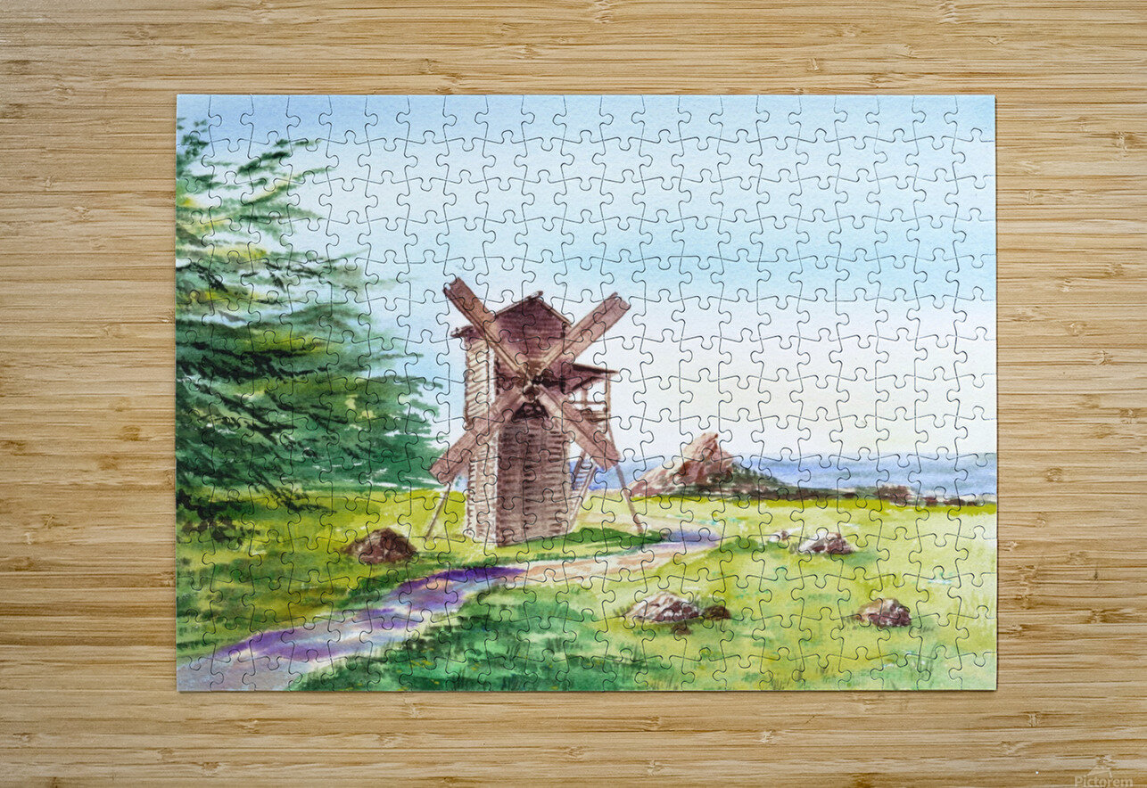 Landscapes Of California Fort Ross Windmill  HD Metal print with Floating Frame on Back