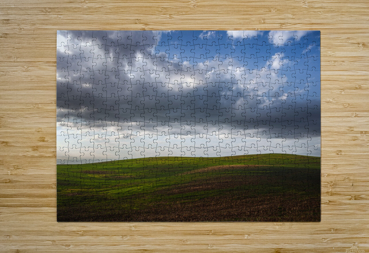 Fields and clouds  HD Metal print with Floating Frame on Back