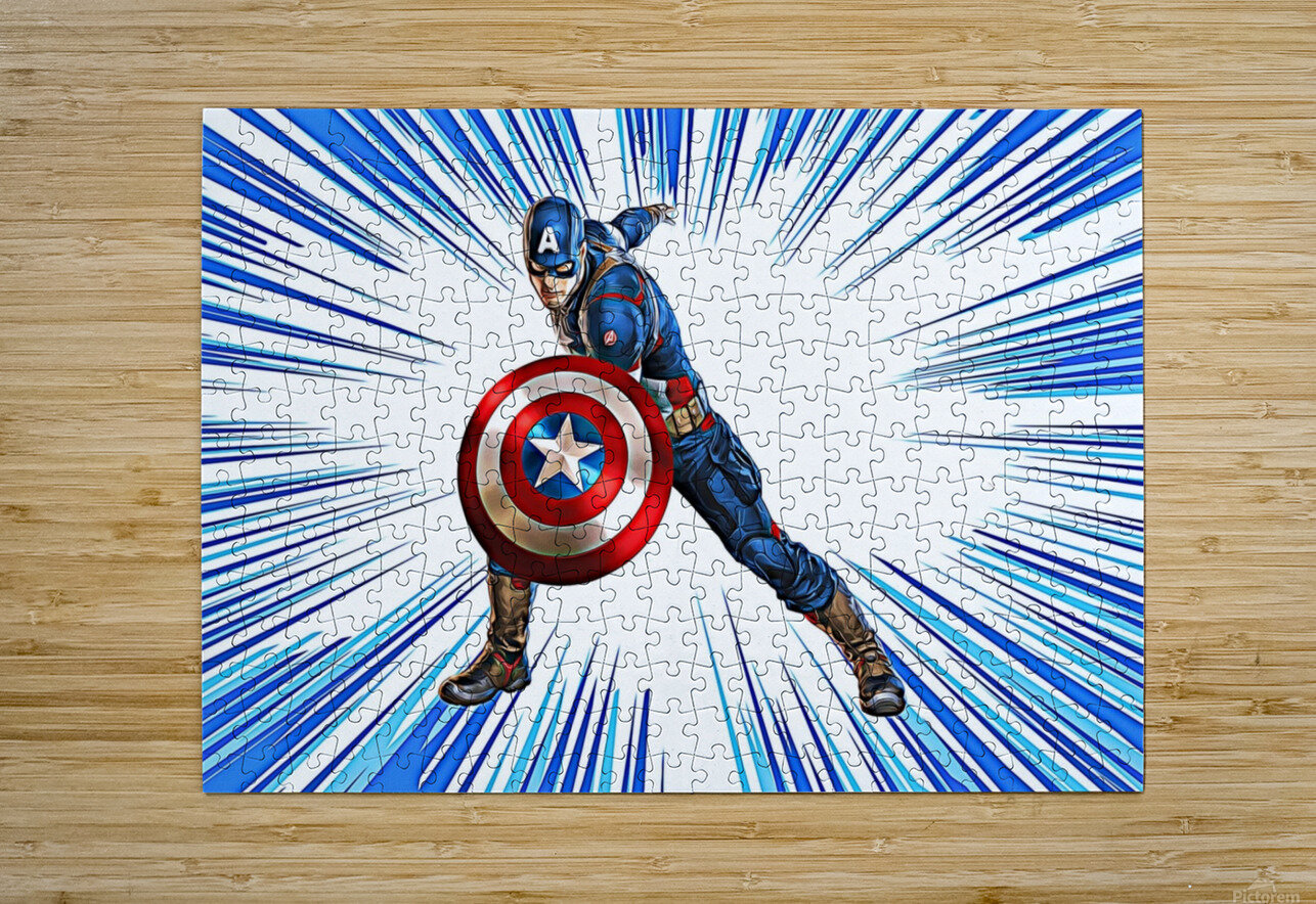 Captain America  HD Metal print with Floating Frame on Back