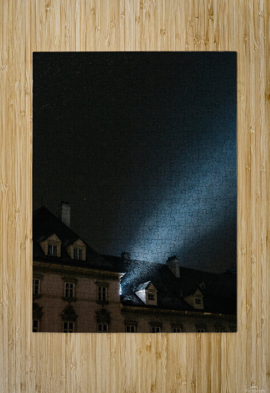 Snow by night  HD Metal print with Floating Frame on Back