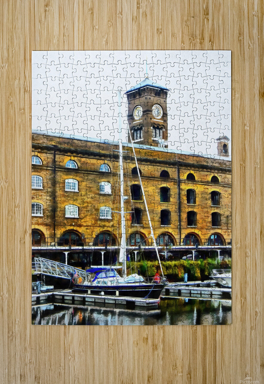 Boats in Front of Clock Tower St Katharine Docks  HD Metal print with Floating Frame on Back