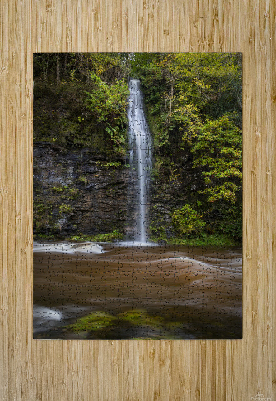 A waterfall on the river Tawe  HD Metal print with Floating Frame on Back