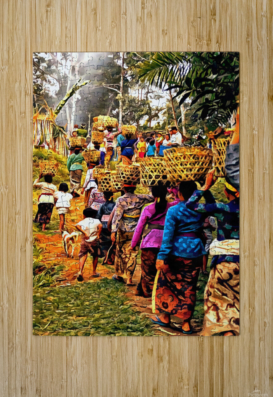 Funeral Feast Procession Bali  HD Metal print with Floating Frame on Back
