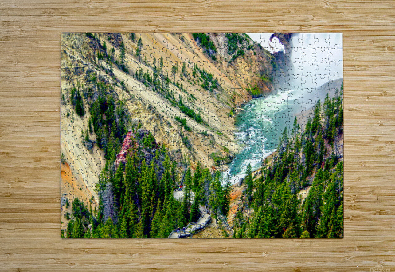 Mighty Yellowstone 3 - Grand Canyon of the Yellowstone River - Yellowstone National Park  HD Metal print with Floating Frame on Back