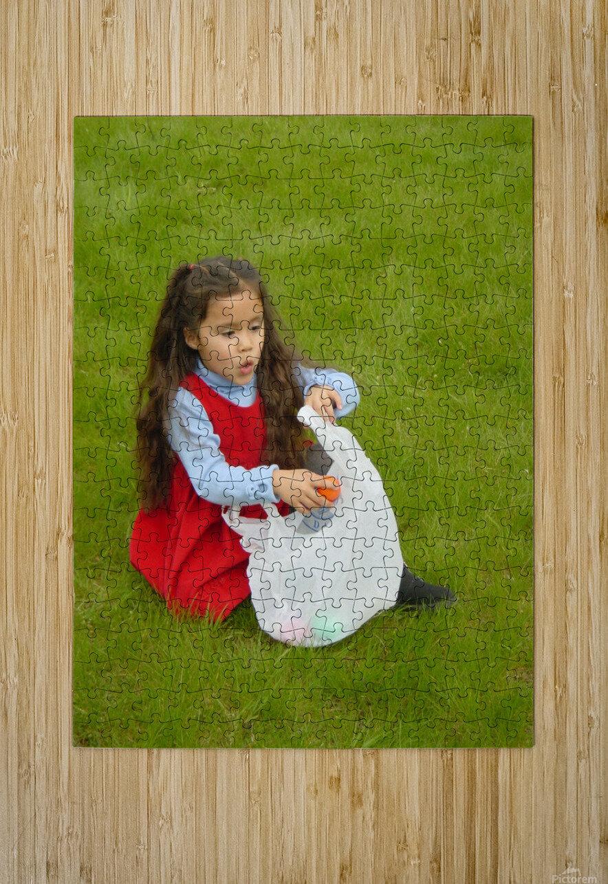 Easter Egg Hunt Girl  HD Metal print with Floating Frame on Back