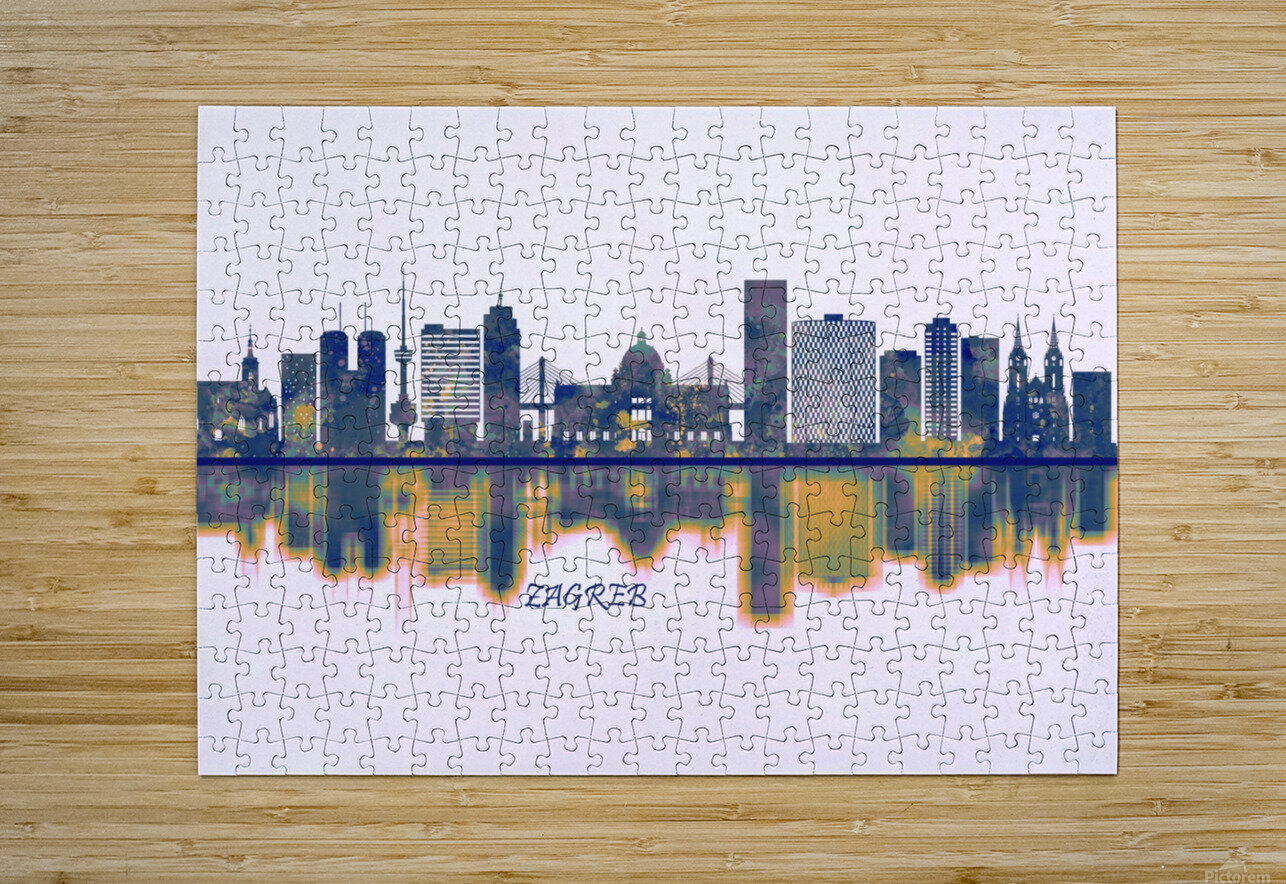 Zagreb Skyline  HD Metal print with Floating Frame on Back