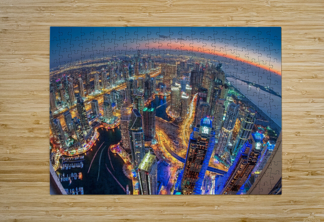 Dubai Colors of Night  HD Metal print with Floating Frame on Back