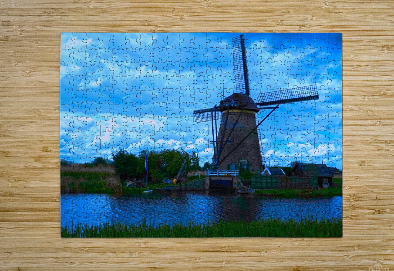 Windmill After the Storm  HD Metal print with Floating Frame on Back