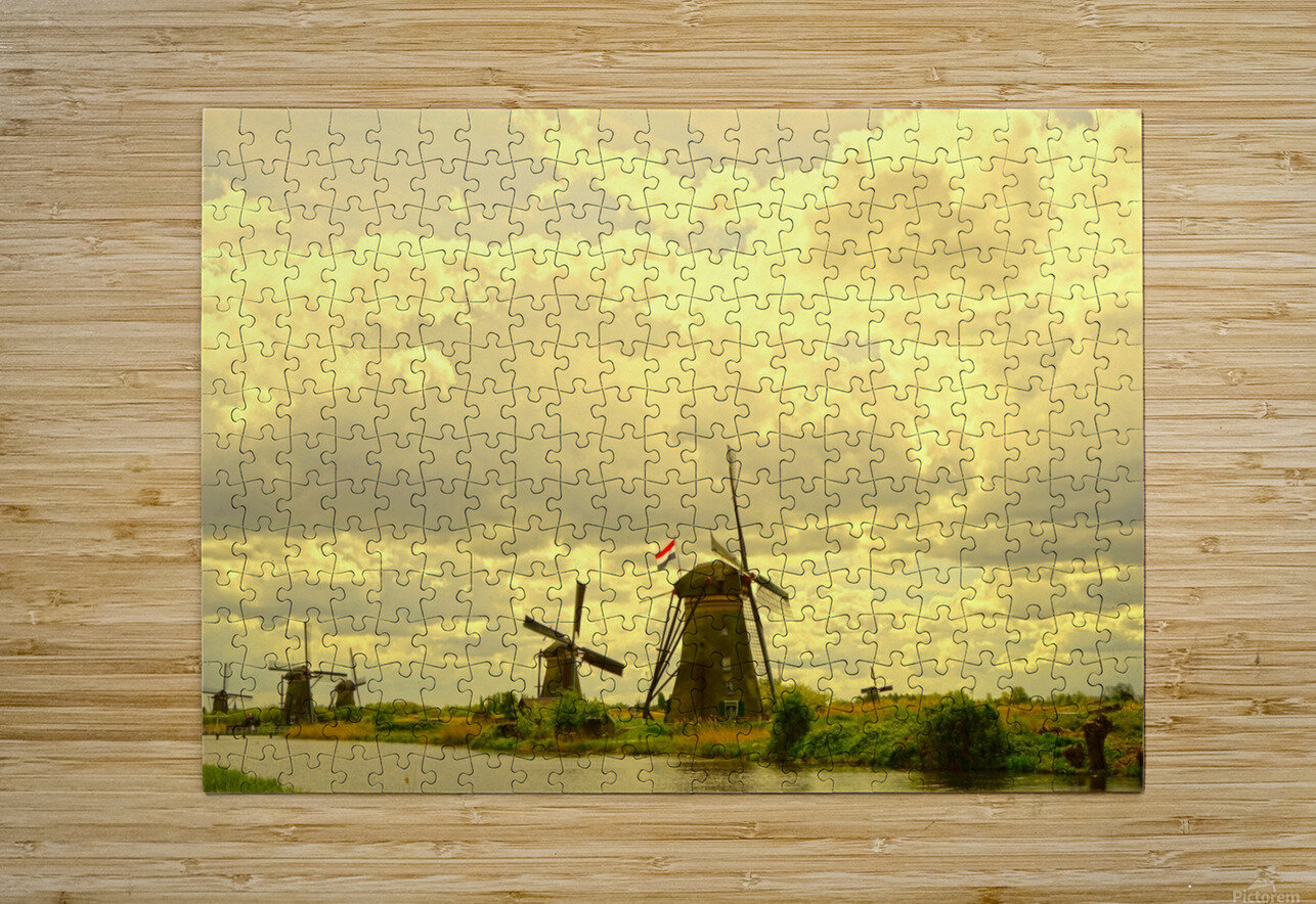 Windmills at Sunset - Netherlands  HD Metal print with Floating Frame on Back