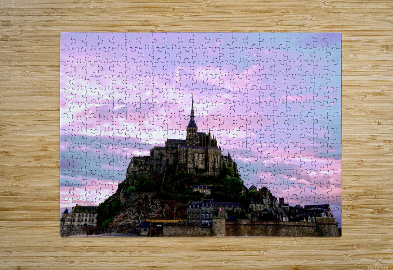 Mont St Michel at Sunset - France  HD Metal print with Floating Frame on Back