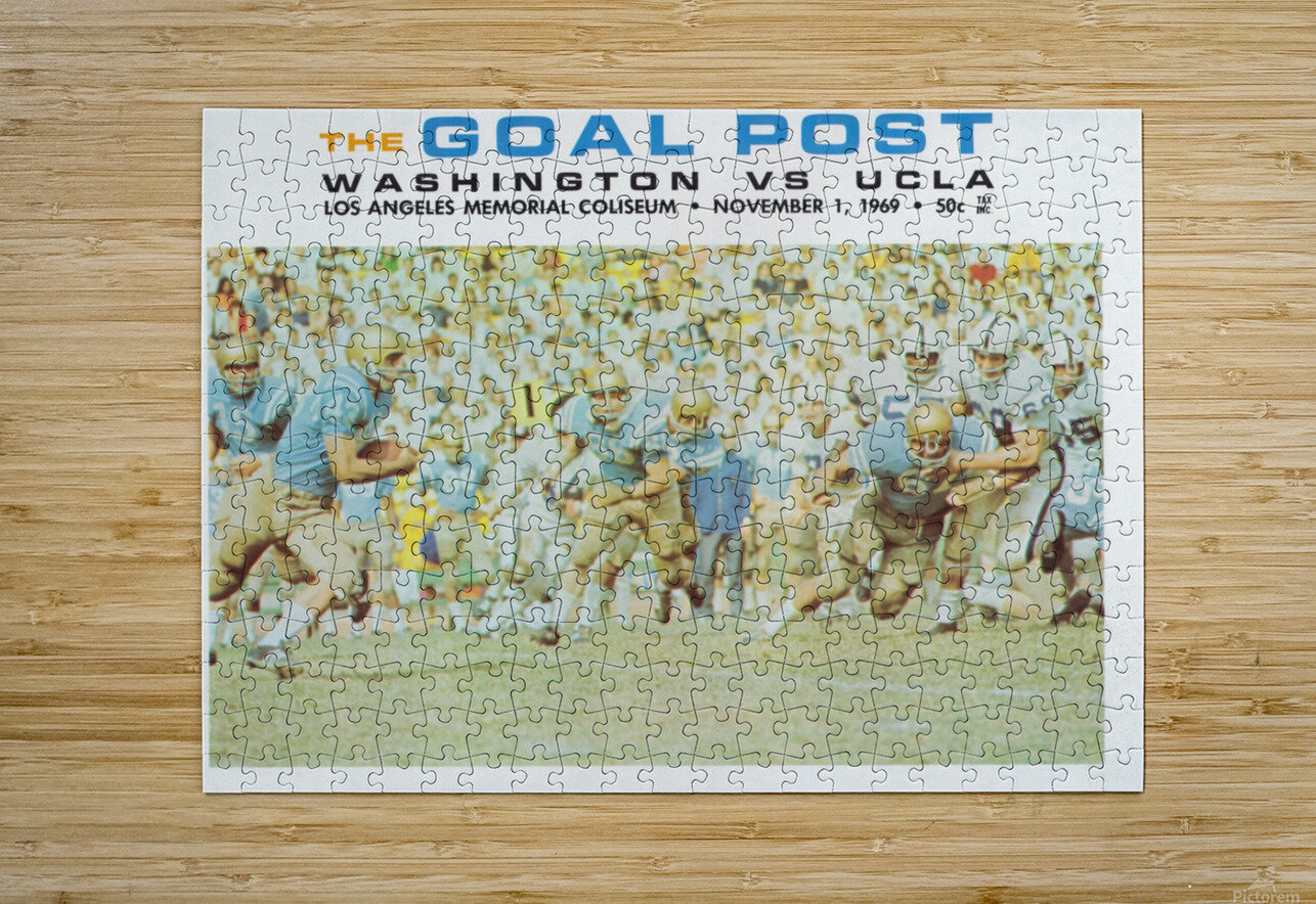 1969 UCLA vs. Washington Football Program Cover Art  HD Metal print with Floating Frame on Back