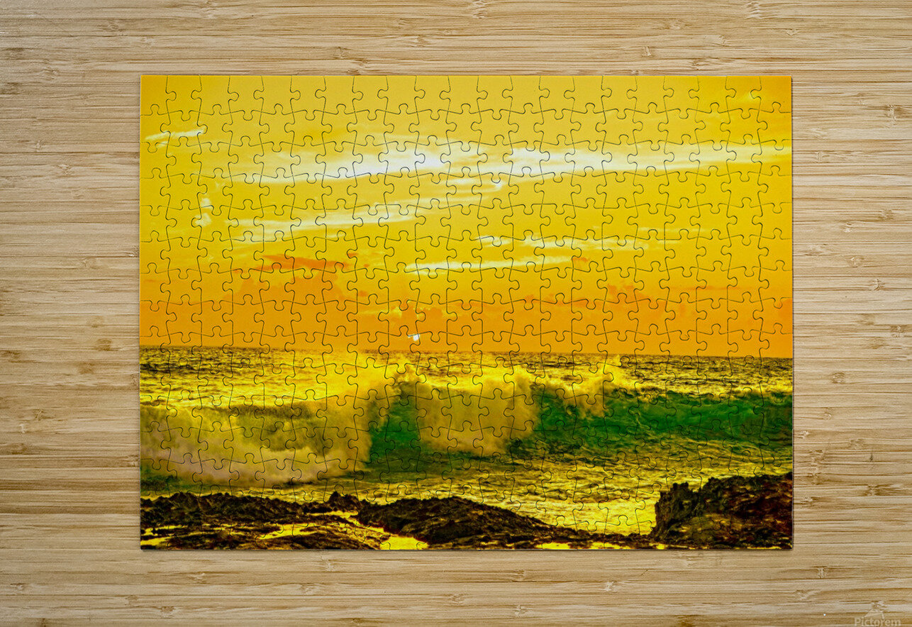 At the Sea Shore - Sunset Hawaiian Islands  HD Metal print with Floating Frame on Back