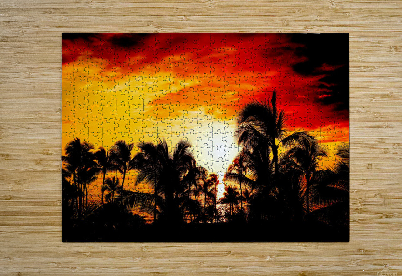 Fire in the Heavens - Sunset Hawaiian Islands  HD Metal print with Floating Frame on Back