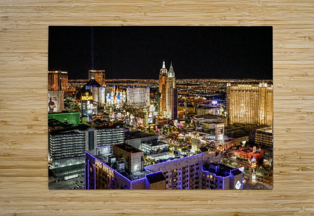 Las Vegas at Night  HD Metal print with Floating Frame on Back