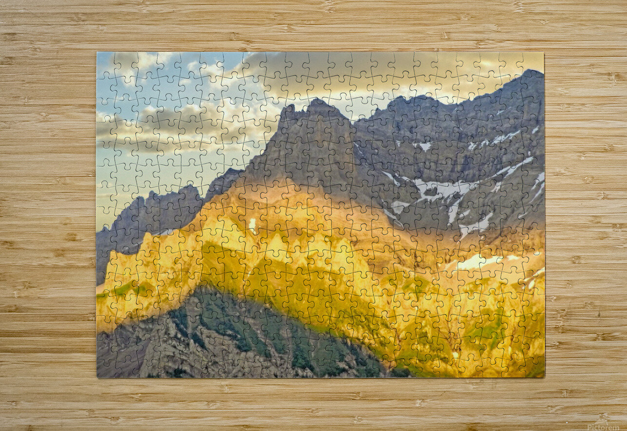 Golden Rays of the Sun Across the Swiss Alps  HD Metal print with Floating Frame on Back