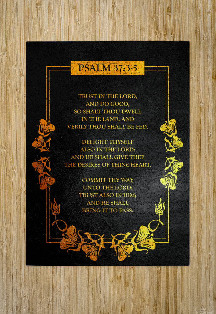 Psalm 37:3- 5 Bible Verse Wall Art  HD Metal print with Floating Frame on Back