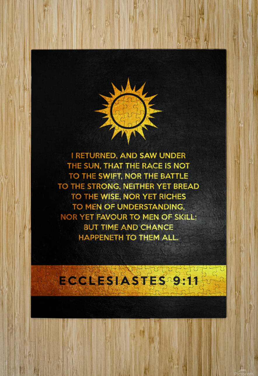 Ecclesiastes 9:11 Bible Verse Wall Art  HD Metal print with Floating Frame on Back