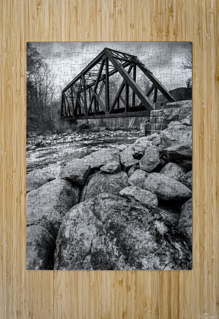 Train Bridge ap 2225 B&W  HD Metal print with Floating Frame on Back