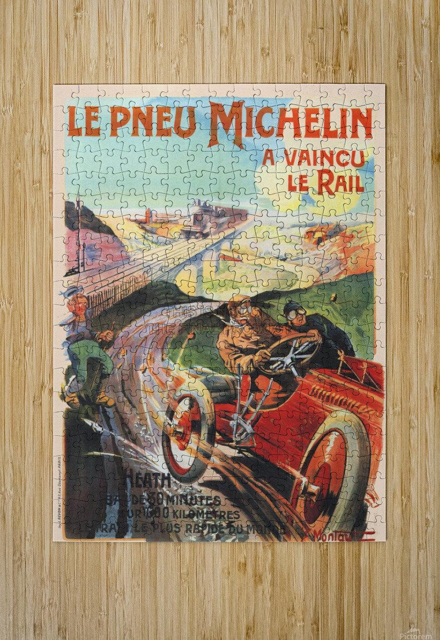 Le Pneu Michelin a vaincu le rail  Impression métal HD avec cadre flottant sur le dos