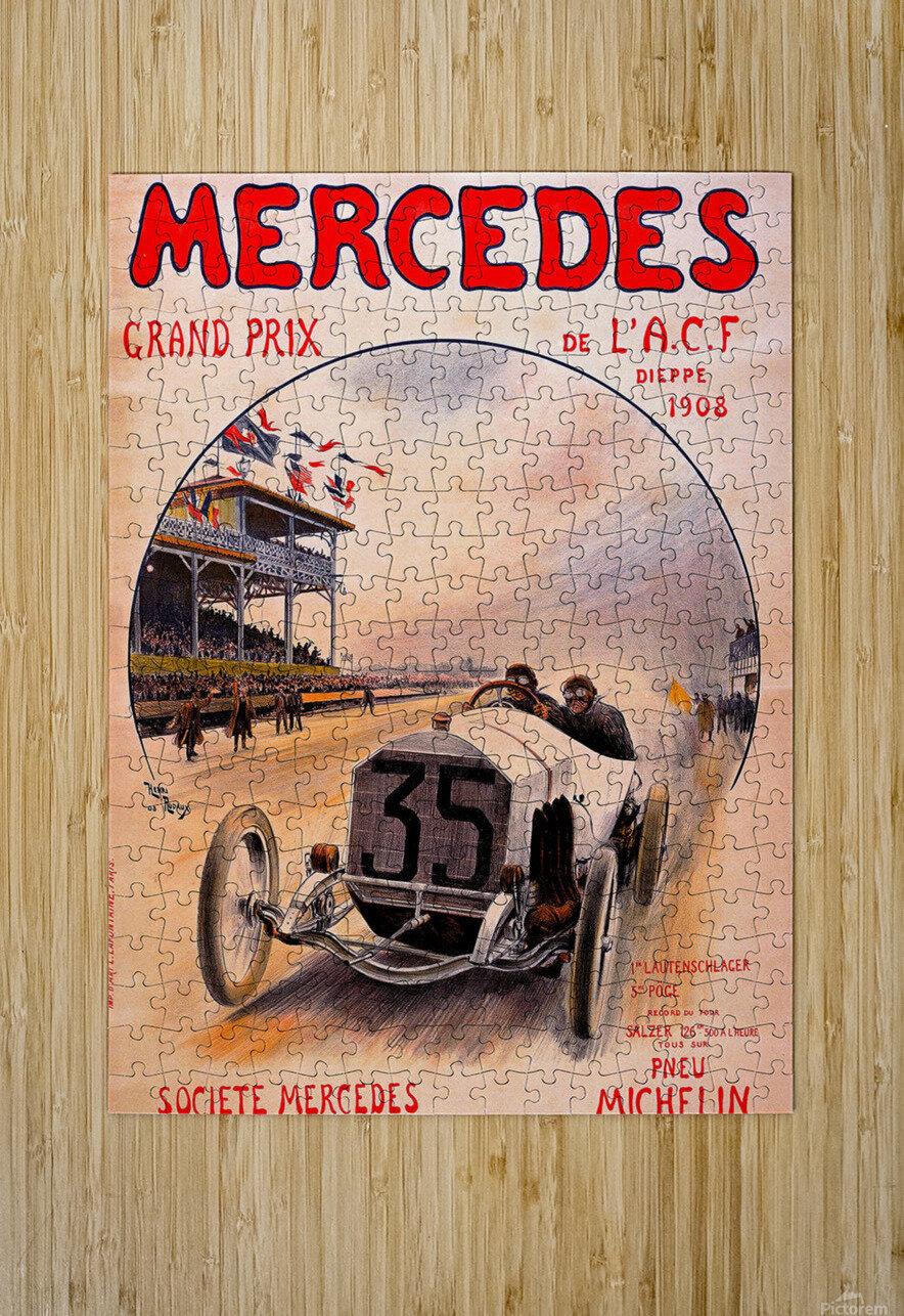 Mercedes Grand Prix  Impression métal HD avec cadre flottant sur le dos