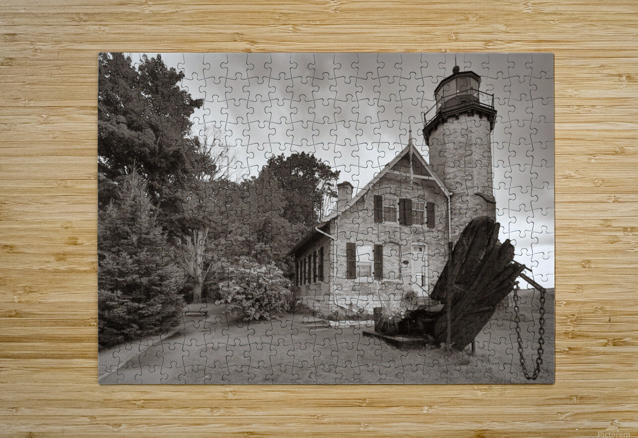 White River Light ap 2449 B&W  HD Metal print with Floating Frame on Back