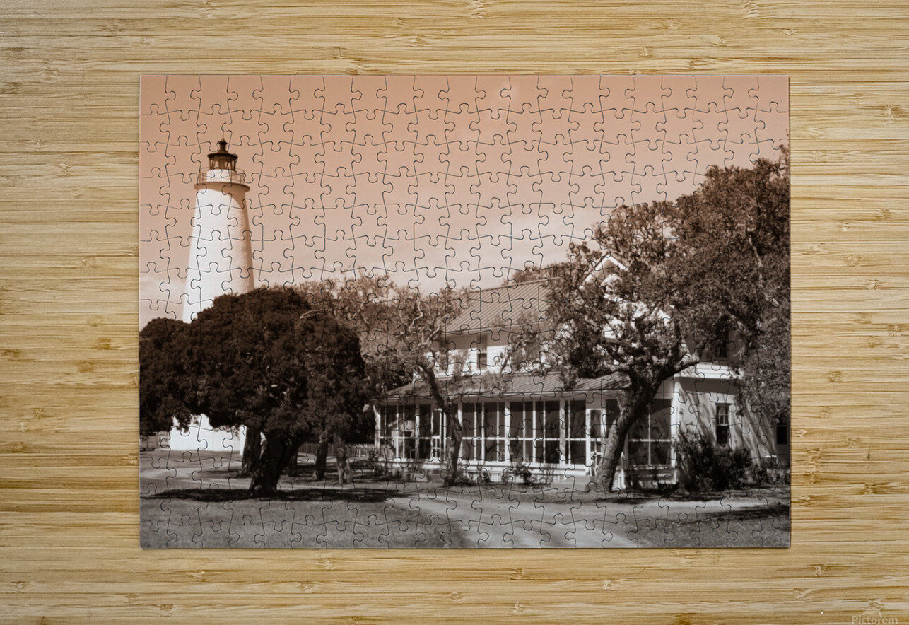 Ocracoke Light ap 1743 B&W  HD Metal print with Floating Frame on Back