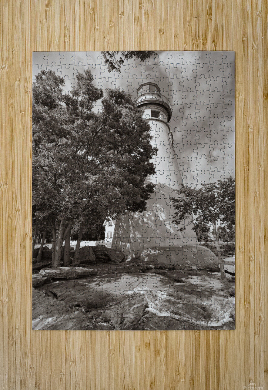 Marblehead Lighthouse ap 2400 B&W  HD Metal print with Floating Frame on Back