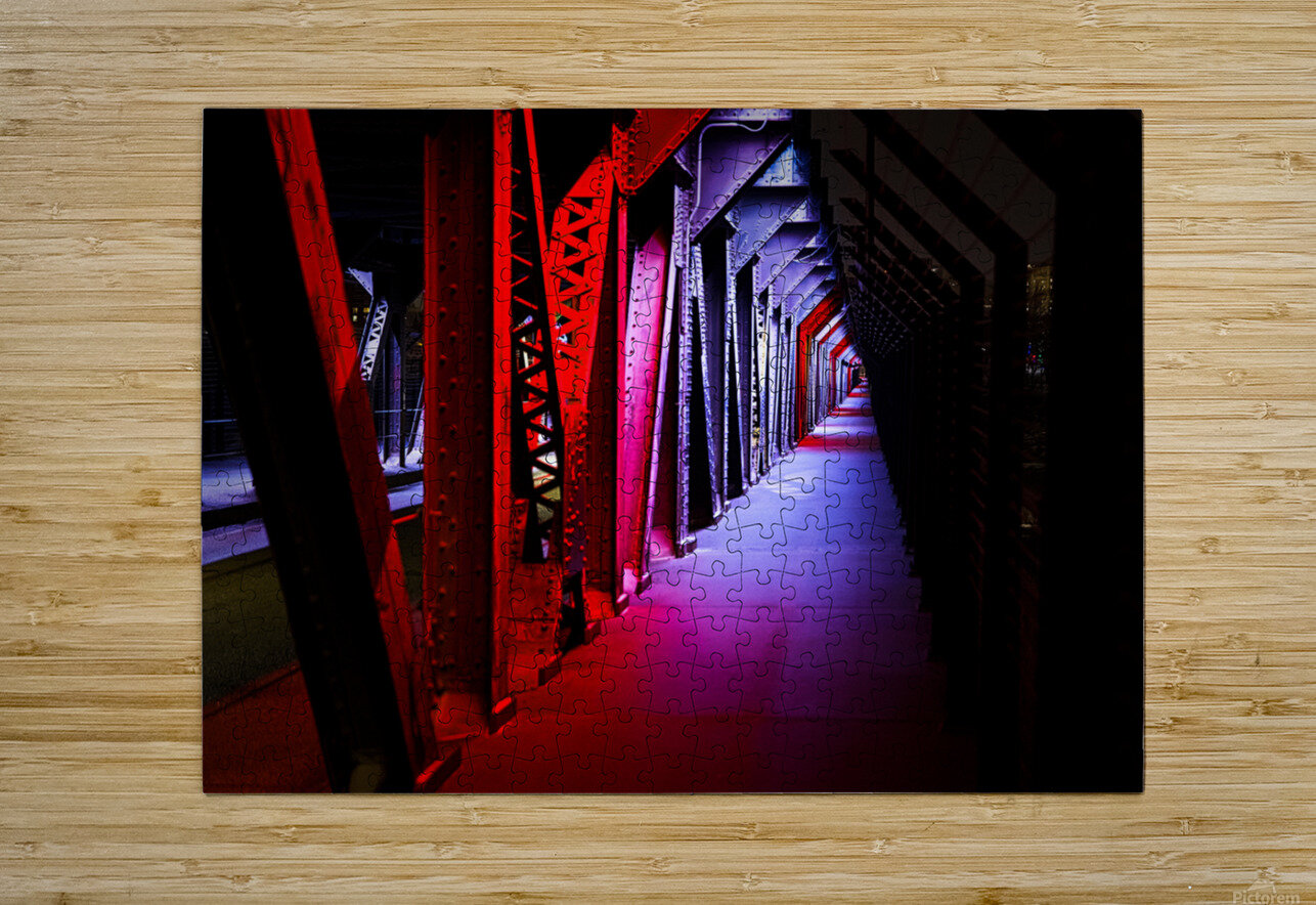 Tunnel of Red Rain  HD Metal print with Floating Frame on Back