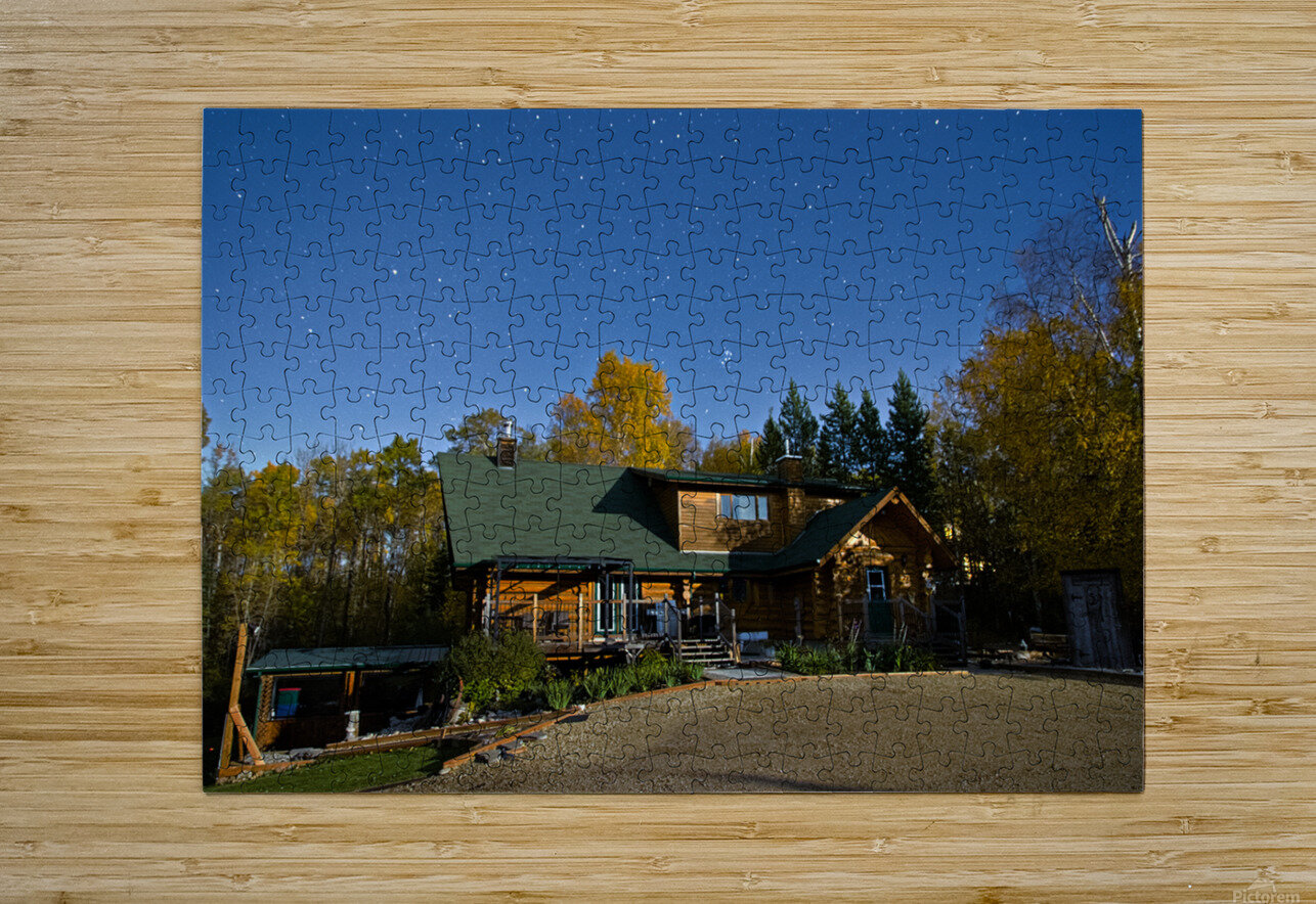 Nightscape Over Log Cabin  HD Metal print with Floating Frame on Back