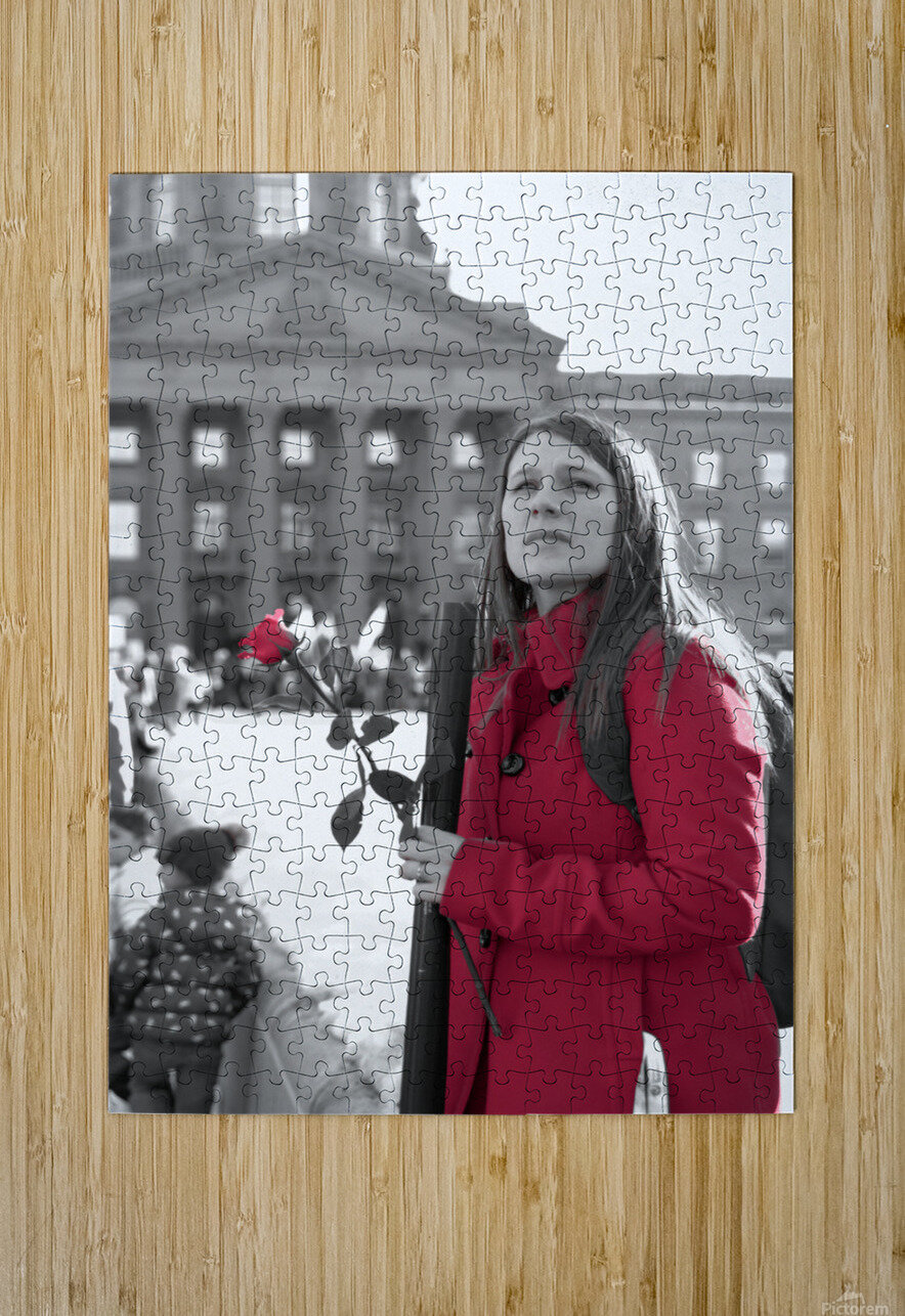 Girl with Flower  HD Metal print with Floating Frame on Back