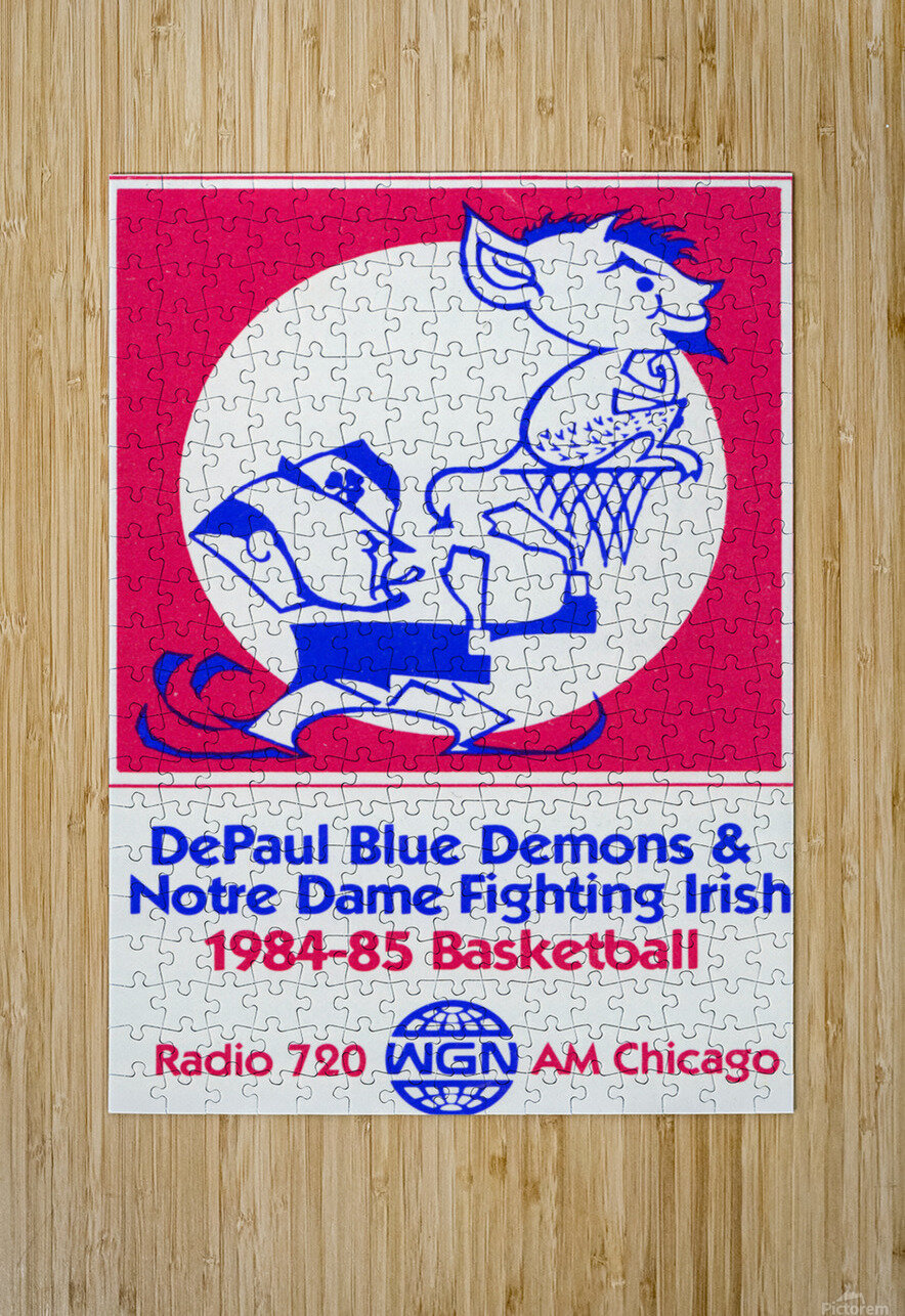 1984 DePaul Notre Dame Basketball WGN Poster  HD Metal print with Floating Frame on Back