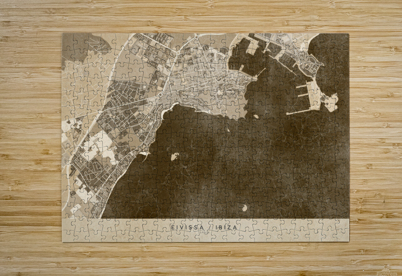 Sepia vintage map of Ibiza Spain  HD Metal print with Floating Frame on Back
