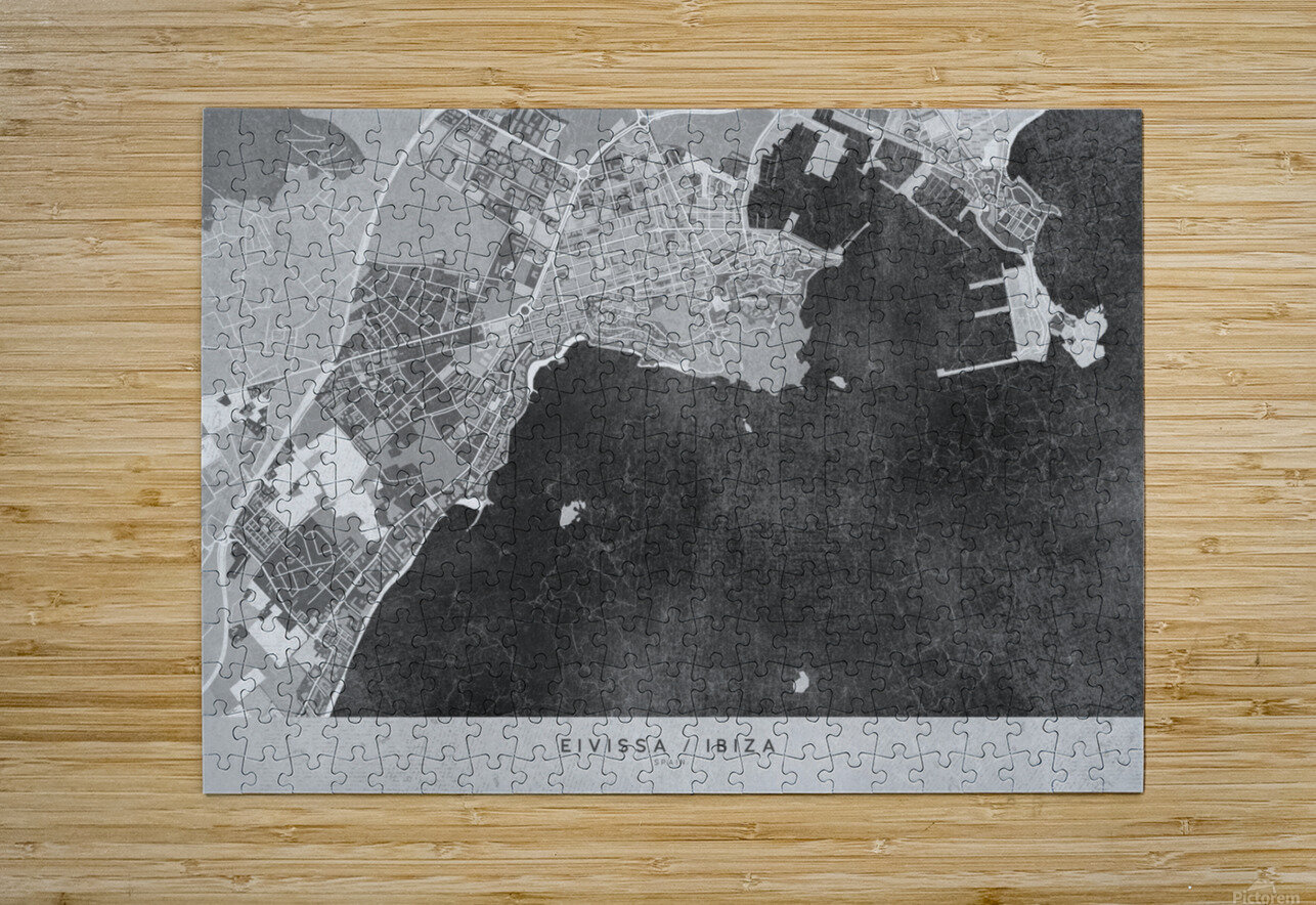 Gray vintage map of Ibiza Spain  HD Metal print with Floating Frame on Back